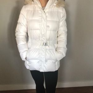 DKNY White Puffer Jacket with Belt